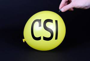 Hand uses a needle to burst a yellow balloon with CSI text