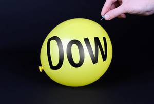 Hand uses a needle to burst a yellow balloon with Dow text