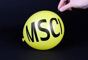 Hand uses a needle to burst a yellow balloon with MSCI text