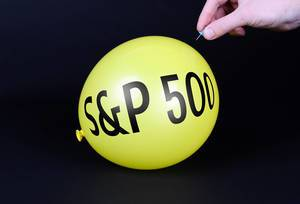 Hand uses a needle to burst a yellow balloon with S&P 500 text