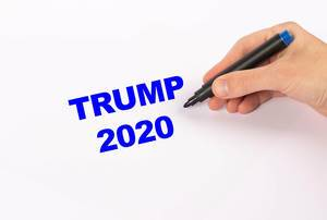 Hand with blue marker writing Trump 2020 text