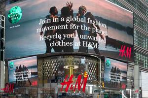 H&M Store at Times Square in New York City with Large Screens
