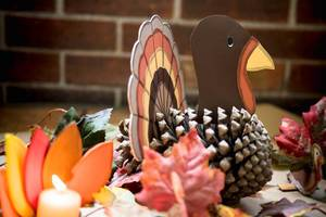 Handmade Thanksgiving decoration made from pine cones