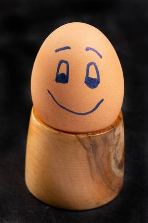 Happy Boiled Egg on the wooden holder (Flip 2019)