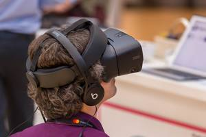 Headset for virtual reality at the innovation festival #bits19 in Munich, Germany