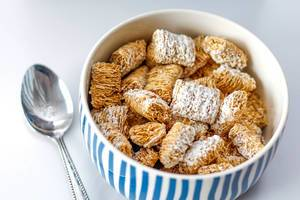 Healthy breakfast with Wheat Cereals in a ceramic bowl