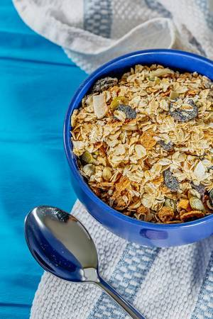 Healthy food-healthy Breakfast porridge on a blue background