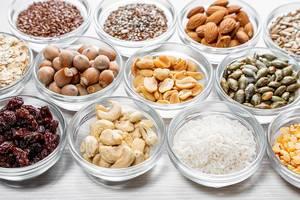 Healthy food ingredients in glass bowls (Flip 2019)