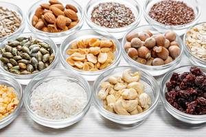 Healthy food ingredients in glass bowls