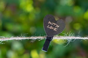 Heart hanging on the clothesline