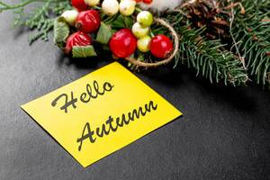 Hello autumn note on black background in autumn style