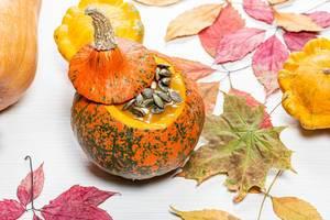 Herbst Hintergrund mit bunten, getrockneten Blättern und Kürbis auf einem weißen Holzhintergrund
