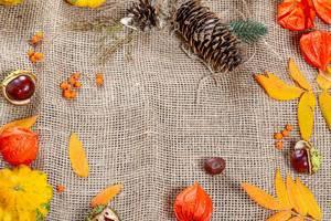 Herbstliche Umrandung auf Leinen mit Freiraum für Schriftzüge zu Feiertagen