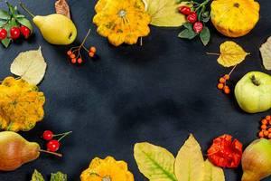 Herbstlicher Rahmen mit gelben Blättern, Früchten, Gemüse und Beeren auf schwarzem Hintergrund und freier Fläche