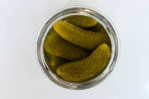 High Angle View of the Pickles in the Jar