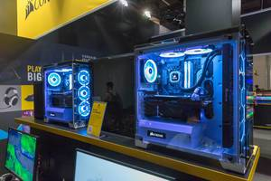 High end PCs by Corsair with glass cases, LEDs and water cooling