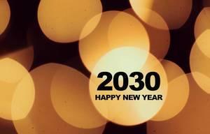 Hintergrundbild mit hellen, gelben Kreisen wünscht zum Neujahrsanfang ein Frohes Neues Jahr 2030