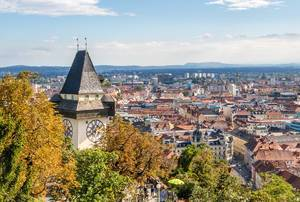 Historic Medieval Clock Tower with a Garden & Panoramic Views of Graz, Austria