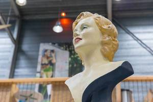 Hollywood icon and famous actress Marilyn Monroe portrayed as  bust, exhibited at the Barcamp in Koblenz and Bonn