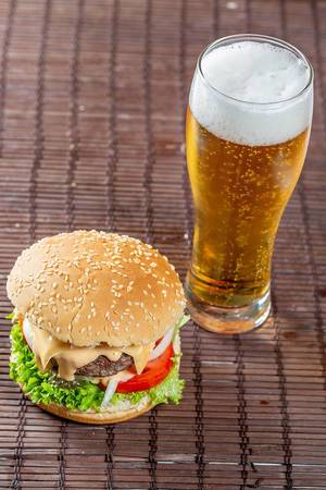 Homemade Burger with a glass of good beer
