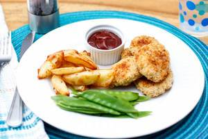 Homemade Chicken Nuggets with Fries and Green Bean