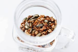 Homemade granola in a jar. Healthy food.