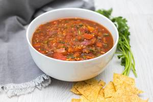 Homemade Salsa in a White Bowl