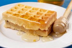 Homemade Waffles with Honey