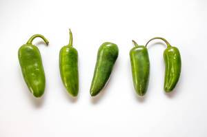 Hot Green Pepper on a White Background