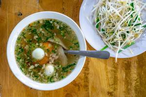 Hu Tieu Broth with Pork, Quail Egg and Beansprouts in Vietnam  Flip 2019