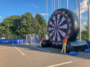 Huge inflatable target for foot darts