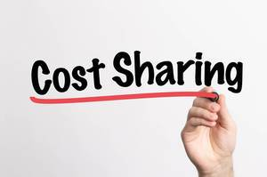 Human hand writing Cost Sharing on whiteboard