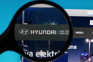 Hyundai logo under magnifying glass