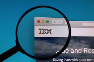 IBM logo under magnifying glass