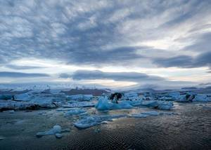 Iceland Icebergs with cloudy sky