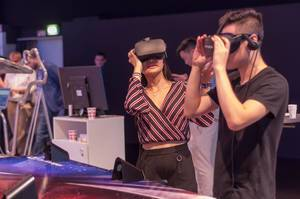 IFA visitors playing virtual table football by Kynoa Games. Koliseum Series VR