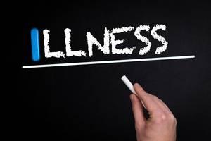 Illness text on blackboard