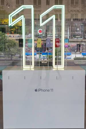 Illuminated numbers to promote the new iPhone 11 at the Apple Store at Michigan Avenue in Chicago