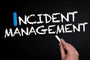 Incident management text on blackboard