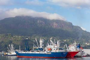 Industriehafen in Victoria auf Mahé, Seychellen mit angedockten Schiffen vor den grünen Hügeln der Insel