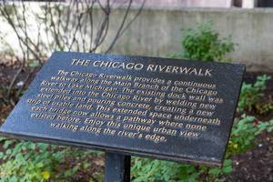 Information sign for the Chicago Riverwalk: pathway along the Chicago River to Lake Michigan
