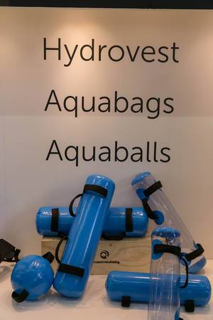 Innovative hydrovests, aquabags and aquaballs for maximum sport performance presented by  Ultimateinstability at Fibo Cologne