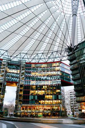 Inside the Sony Center in Berlin
