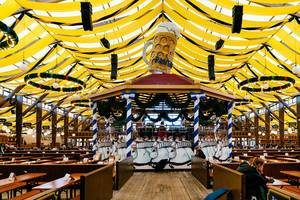 Interior of Paulaner beer tent at Oktoberfest