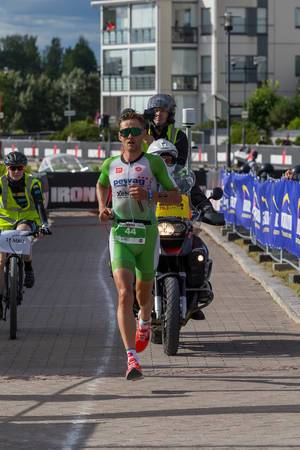 Ironman 70.3 winner in Lahti, Finland, Daniel Bækkegård, runs the triathlon discipline Marathon