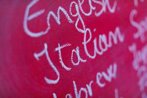 Italian, among many foreign languages written with chalk, school chalkboard