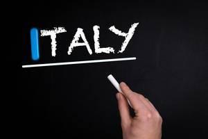 Italy text on blackboard