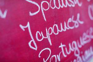 Japanese, among many foreign languages written with chalk, school chalkboard
