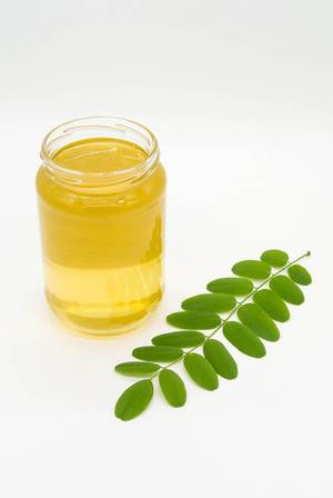 Jar of acacia honey with a small green branch