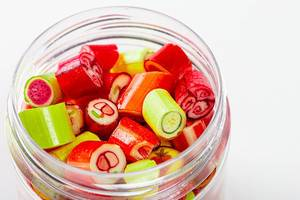Jar of candy fruit candies close up (Flip 2020)